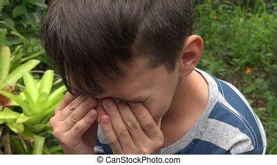 Sad Teen Boy Crying