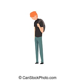 Sad teen boy, depressed lonely teenager vector Illustration on a white background