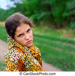 Sad teen girl outdoor