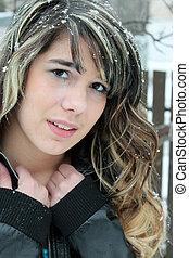 Sad teen girl outside