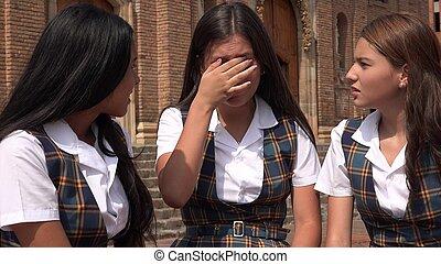 Sad Teen Girl Student