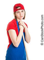 Sad Teen Girl with Job