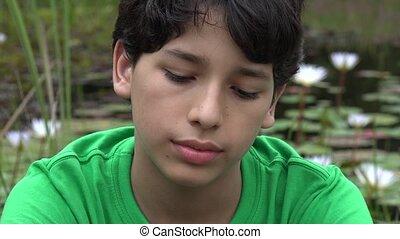 Sad Teen Hispanic Boy