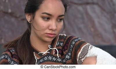Sad Teen Peruvian Girl