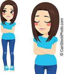 Sad teenager girl with crossed arms and lonely expression