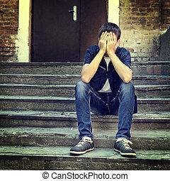 Sad Teenager outdoor - Toned Photo of Sad Teenager on the...