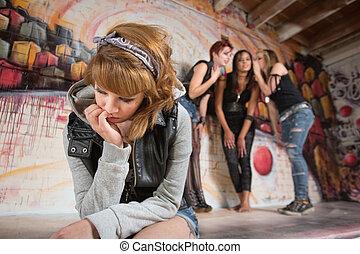 Sad Teenager Sitting Alone
