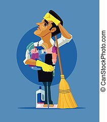 Sad tired man character cleaning house. Vector flat cartoon illustration