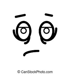 Sad, tired smiley face emoticon line art icon for apps and websites.