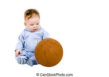 Sad toddler with basketball ball