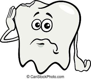 sad tooth cartoon character with cavity