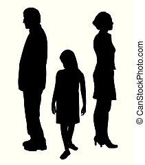 Sad unhappy child standing between two divorcing parents