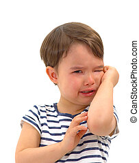 Sad unhappy crying cute little young toddler girl wiping tears, isolated.