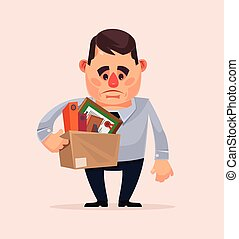 Sad unhappy office worker character fired from job. Vector flat cartoon illustration