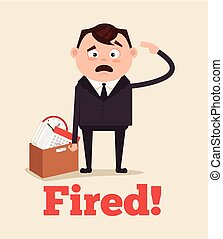Sad unhappy office worker man character fired from job and leaving office with box. Vector flat cartoon illustration