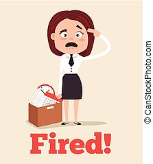 Sad unhappy office worker woman character fired from job and leaving office with box. Vector flat cartoon illustration