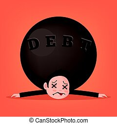Sad unhappy stressed killed businessman office worker character by big debt stone. Vector flat cartoon illustration
