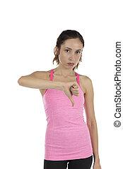 Sad unhappy woman thumb down