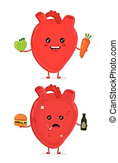 Sad unhealthy sick heart with bottle of alcohol and smoking cigarette, burger and strong healthy happy heart with carrot and apple. Vector modern cartoon character illustration icon design.