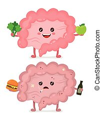 Sad unhealthy sick Intestine with bottle of alcohol and smoking cigarette, burger and strong healthy happy Intestine with broccoli and apple. Vector modern cartoon character illustration icon design.