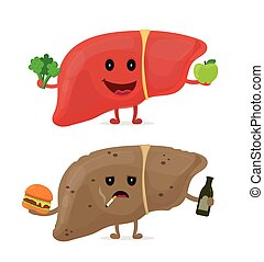 Sad unhealthy sick liver with bottle of alcohol and smoking cigarette, burger and strong healthy happy liver with broccoli and apple. Vector modern style cartoon character illustration icon design.