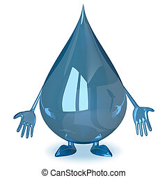 Sad water drop character isolated on white background