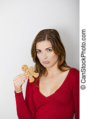 Sad woman and Sad Gingerbread cookie