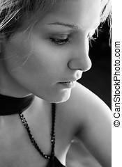 Sad woman BW portrait - Sad young woman black and white...
