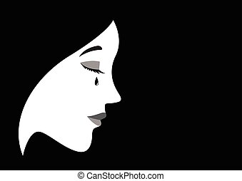 Sad Woman Face - Graphic illustration of a crying woman