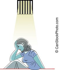Sad woman in prison, illustration
