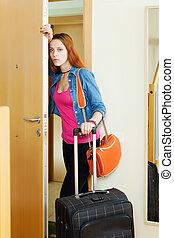 Sad woman leaving  home