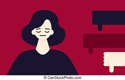 Sad woman on a red background and hands symbol do not like. Criticism concept. Flat design. Vector illustration