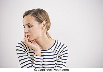 Sad woman thinking about future