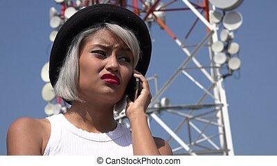 Sad Woman Using Cell Phone