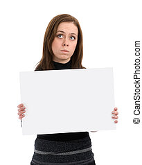 sad woman with a blank sheet of paper in her hands