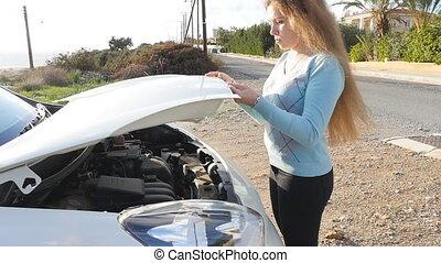 Sad woman with broken car - Sad young woman with broken car
