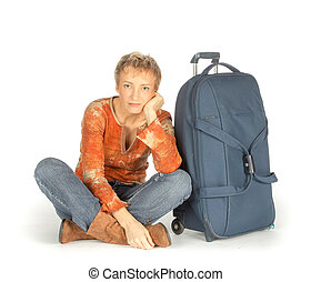 Sad Woman with suitcase, isolated on white