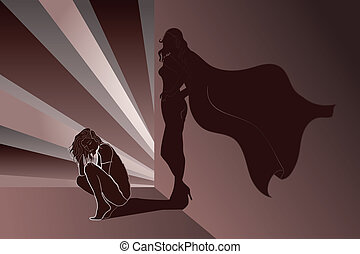 Sad woman with Superhero's Shadow on wall - Sad woman...