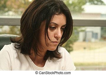 sad woman - woman face close up