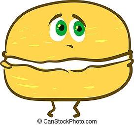 Sad yellow macaron, illustration, vector on white background.