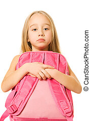 Sad young girl with a pink backpack