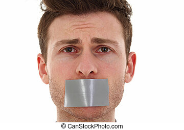 Sad young man censored