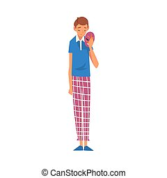 Sad Young Man Holding Face Mask, Guy Changing His Personality or Individuality Vector Illustration
