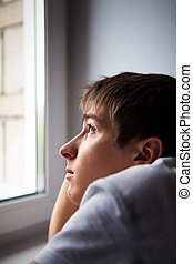 Sad Young Man - Pensive Young Man by the Window in the Room