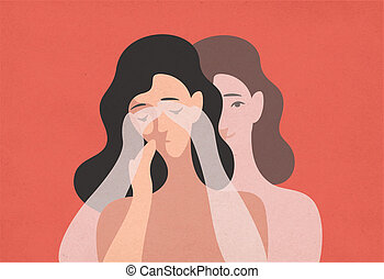 Sad young woman with lowered head and her ghostly twin standing behind and covering her eyes with hands. Concept of self-deception, reality denial, rationalization. Modern flat vector illustration.