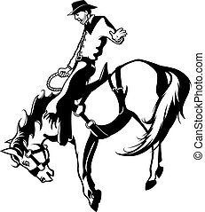 Illustrated saddle bronc rider. Vector file.
