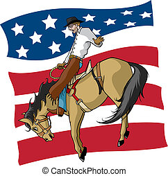 Illustrated saddle bronc rider with American flag background. Layered vector file.