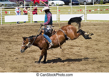 Saddle Bronc riding a small town rodeo
