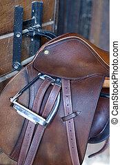 Saddle - Stock photo of an English leather saddle