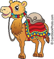 saddlery, spotprent, kameel